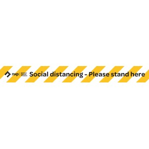 Covid-19 Social Distancing Please Stand Here Strip Decal 900mmx100mm 5pk