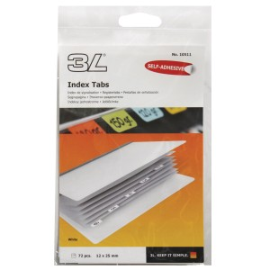 3L Index Multi Tabs 25mm White Pack 72