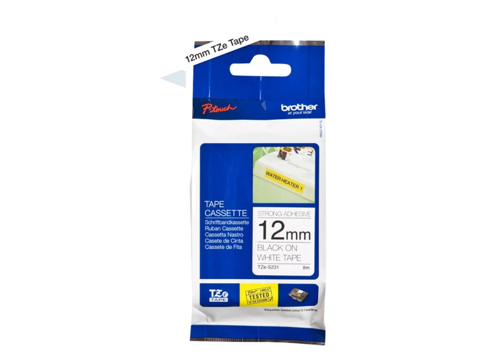 Brother Strong Tape Black On White TZes231 12mm