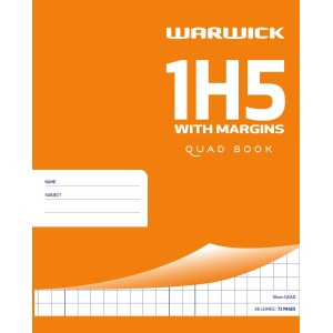 Warwick Exercise Book 1H5 36 Leaf With Margin Quad 10mm 255x205mm
