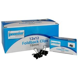 Foldback Clips 19mm Box 12