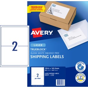 Avery Shipping Labels with Trueblock for Laser Printers 199.6 x 143.5mm 200 Labels (959008 / L7168)