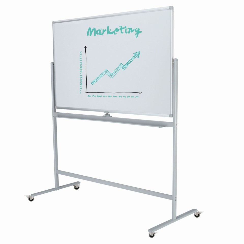 Boyd Visuals Clarity Porcelain Mobile Pivoting Whiteboard 900 x 1200mm
