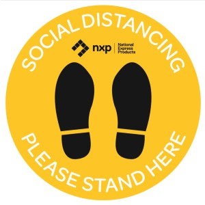 Covid-19 Social Distancing Please Stand Here 400mm Pavement Decals Ea