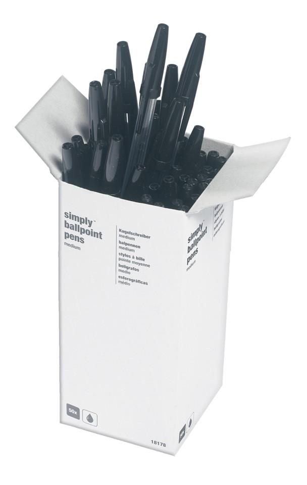 NXP Clear Stick Ballpoint Pen Medium 1.0mm Black Box 50