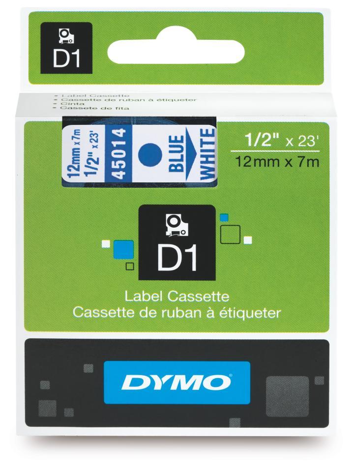 Dymo D1 Label Printer Tape 12mm x 7m Blue On White