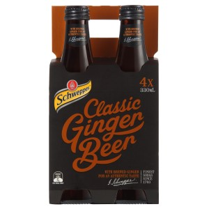 Schweppes Traditional Soft Drink Glass Ginger Beer 4x330ml