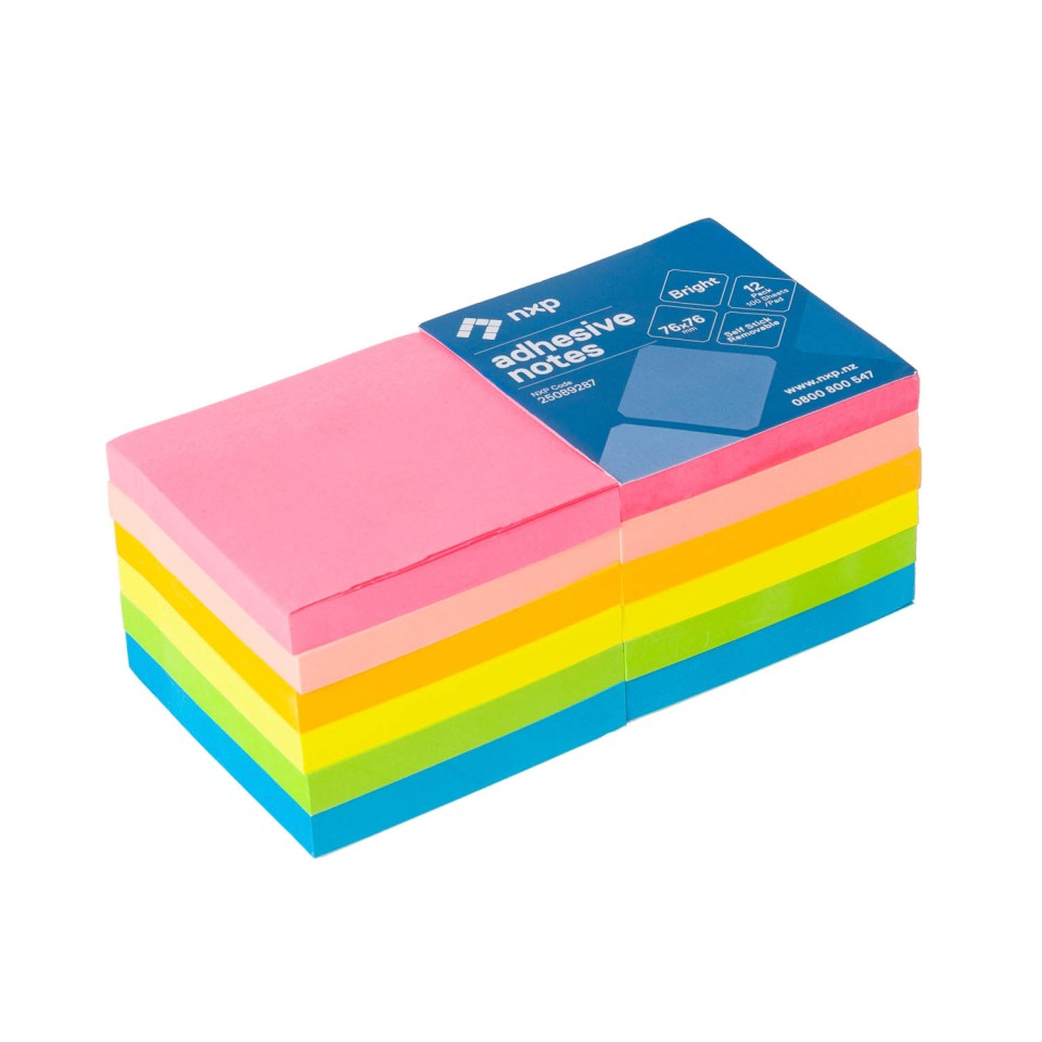 NXP Self Adhesive Removable Sticky Notes Bright Colours 76x76mm Pack 12