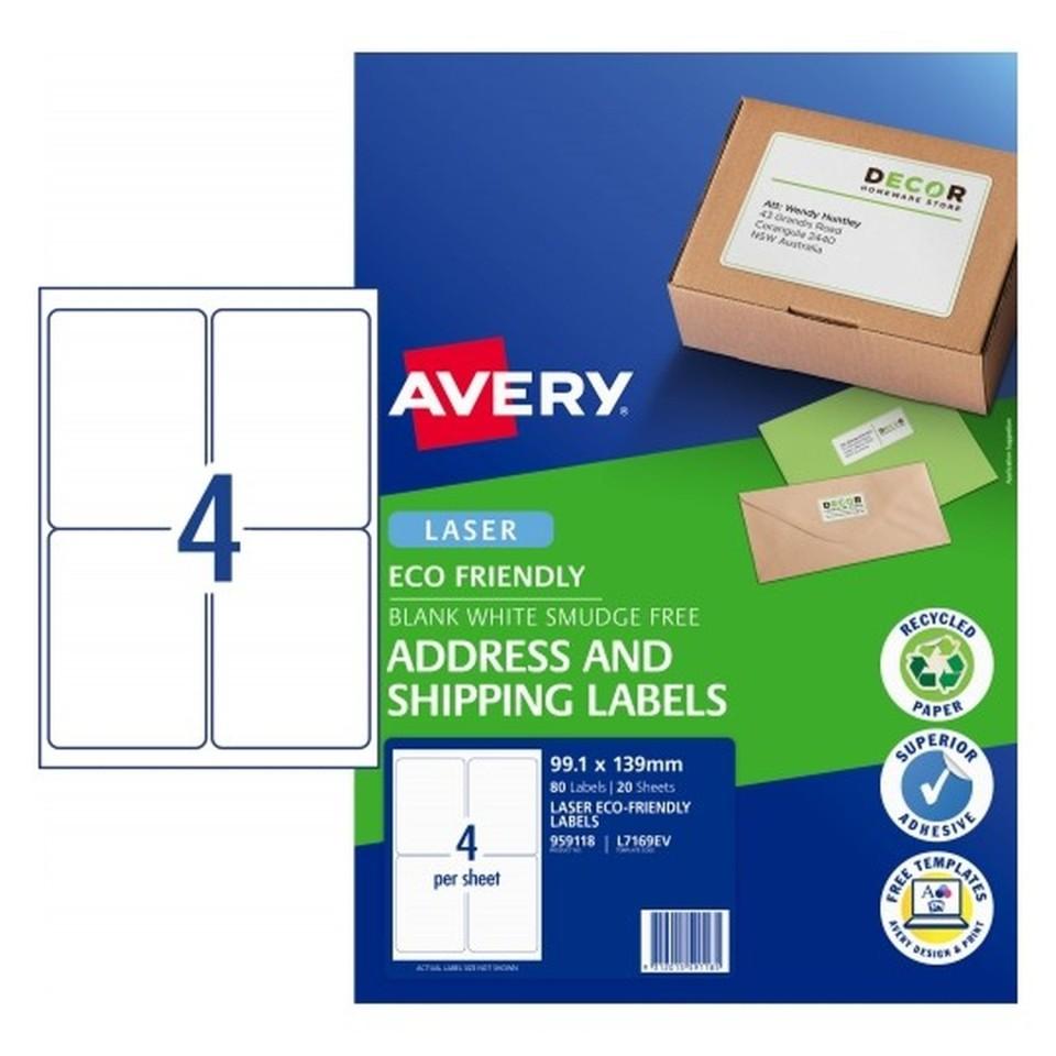Avery Eco Address Laser 99.1x139mm 4up White Pack 20 Sheets 80 Labels (959118/L7169EV)