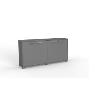 1800mm Wide Cubit Credenza In Silver. 1800wx450dx900h With 2 Adjustable Shelves. Lockable.