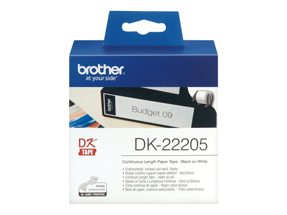Brother DK-22205 Label Roll - 62 mm x 30.48 m - Black on White