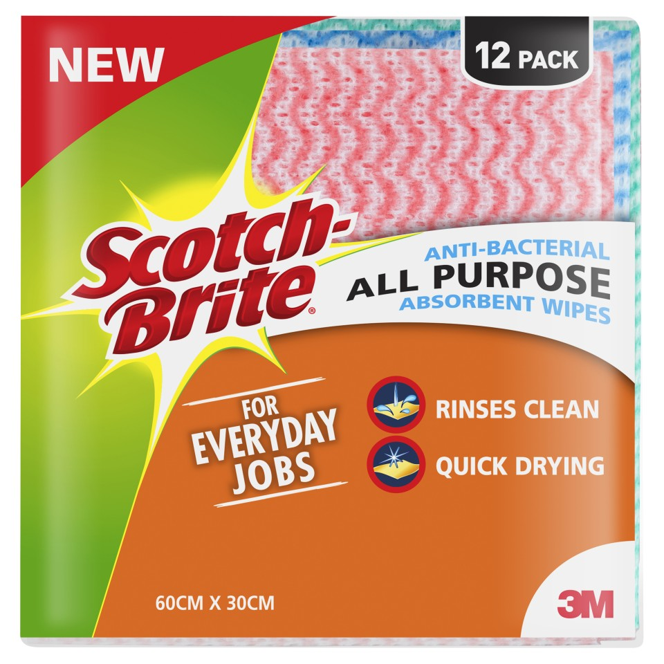 Scotch-Brite Anti-Bacterial All Purpose Absorbent Wipes 60cm x 30cm Multi Pack of 12