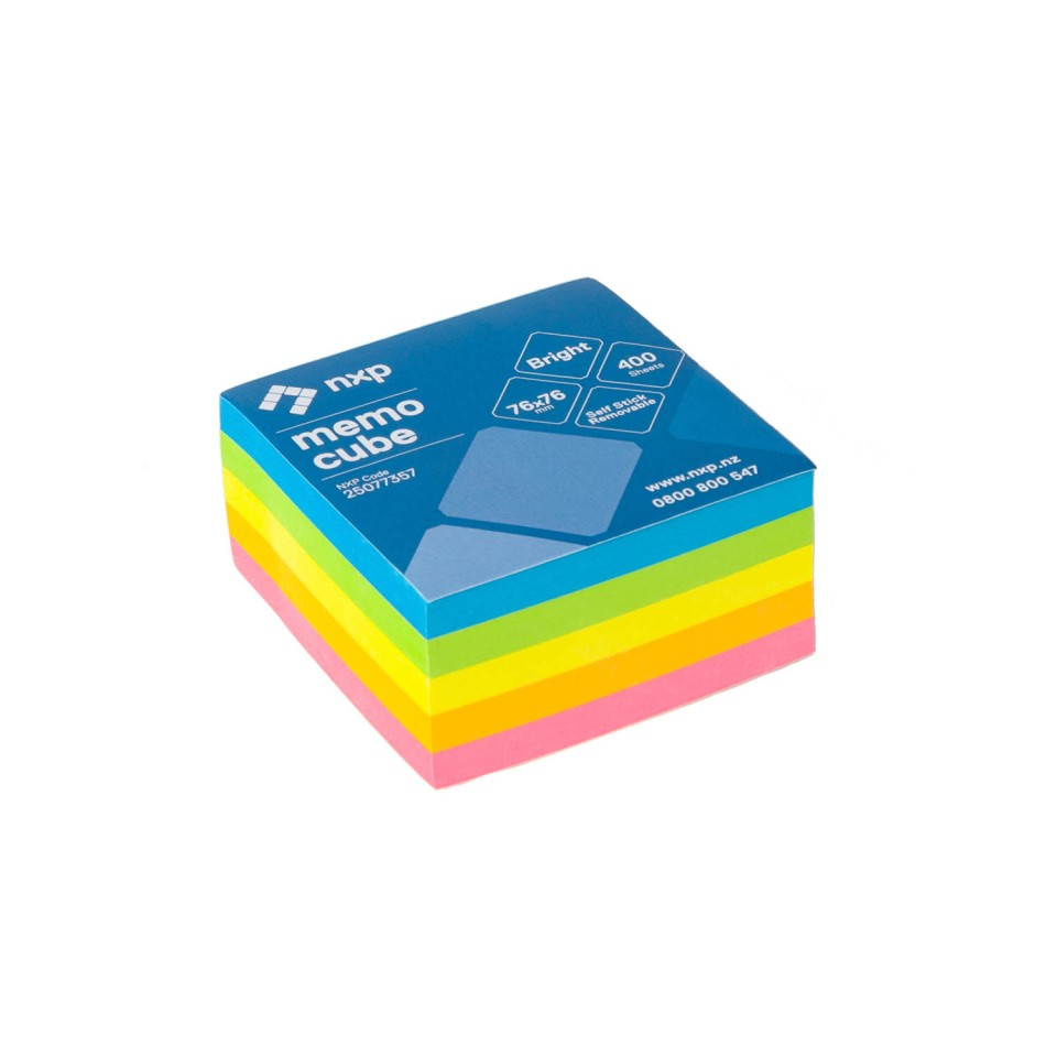 NXP Self Adhesive Removable Sticky Notes Memo Cube 76x76mm Bright Colours 400 Sheets