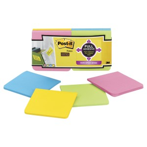 Post-It Super Sticky Notes Full Adhesive Assorted Colours 76 x 76mm Pack 12