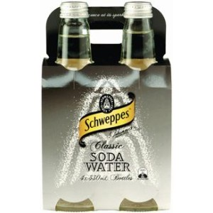 Schweppes Soda Water Bottle 330ml Pack 4