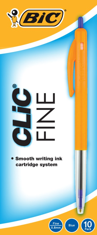 BIC Clic Fine Ballpoint Pen Retractable 0.7mm Blue Box 10