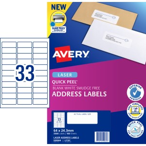 Avery Quick Peel Address Labels Sure Feed Laser Printers, 64 x 24.3 mm, 3300 Labels (959060 / L7157)