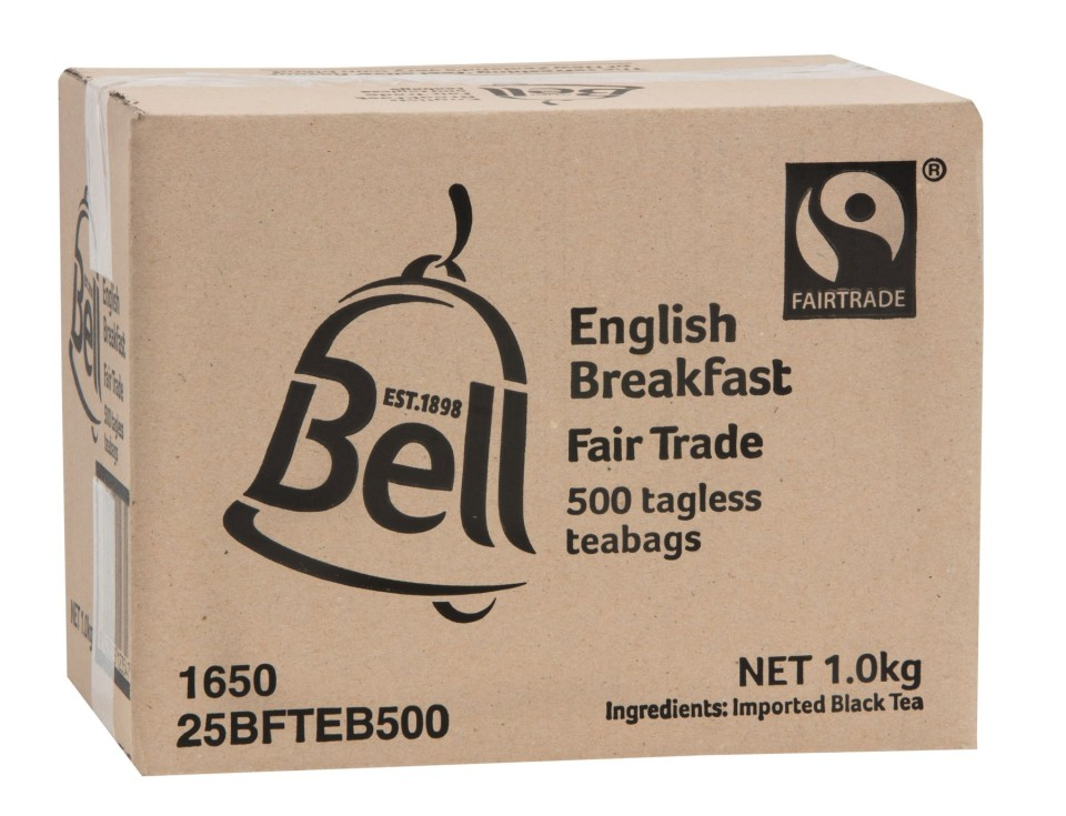 Bell Tea Fair Trade English Breakfast Tagless Tea Bags Box 500
