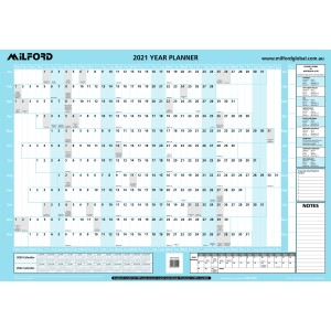 Milford 2021 Wall Planner Recycled Double Sided