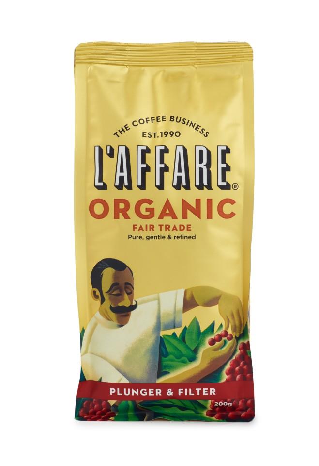 L'affare Organic Fair Trade Plunger & Filter Ground Coffee 200g