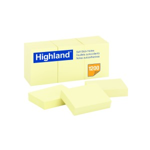 Highland Self Adhesive Removable Sticky Notes 34x47mm Yellow Pack 12