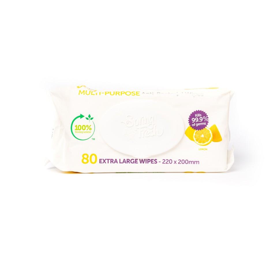 Spring Fresh Multi Purpose Biodegradable Antibacterial Wipes Extra Large Lemon 220mmx220mm PK of 80