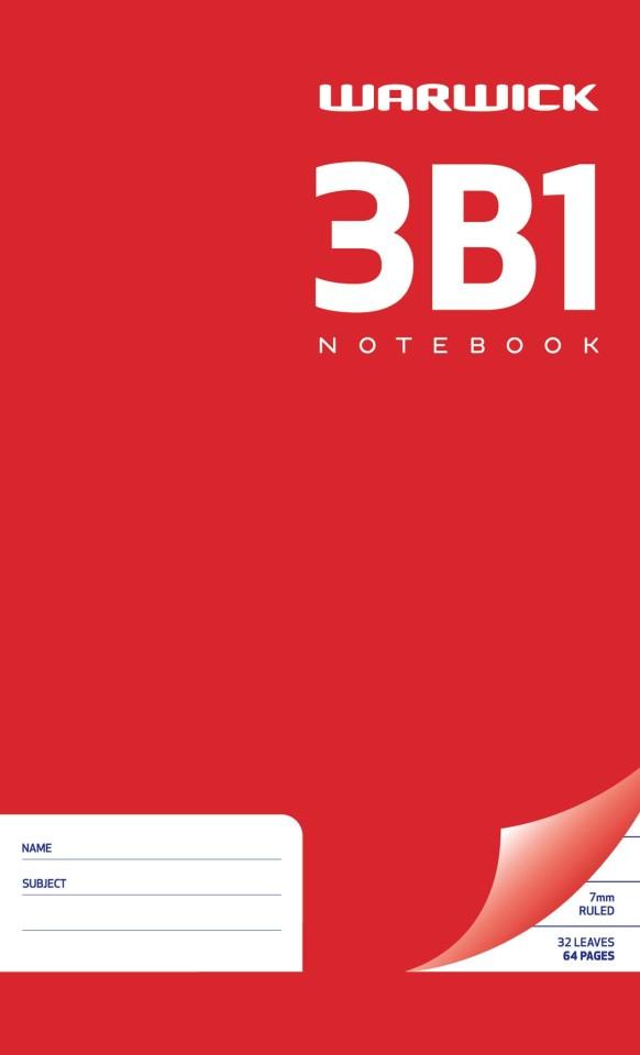 Warwick Notebook 3B1 32 Leaf Ruled 7mm 165x100mm
