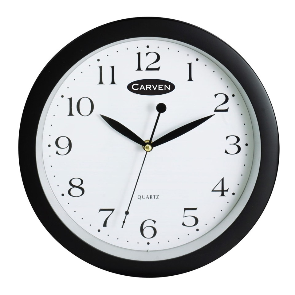 Carven Clock Silent Sweep Hand 30cm Black