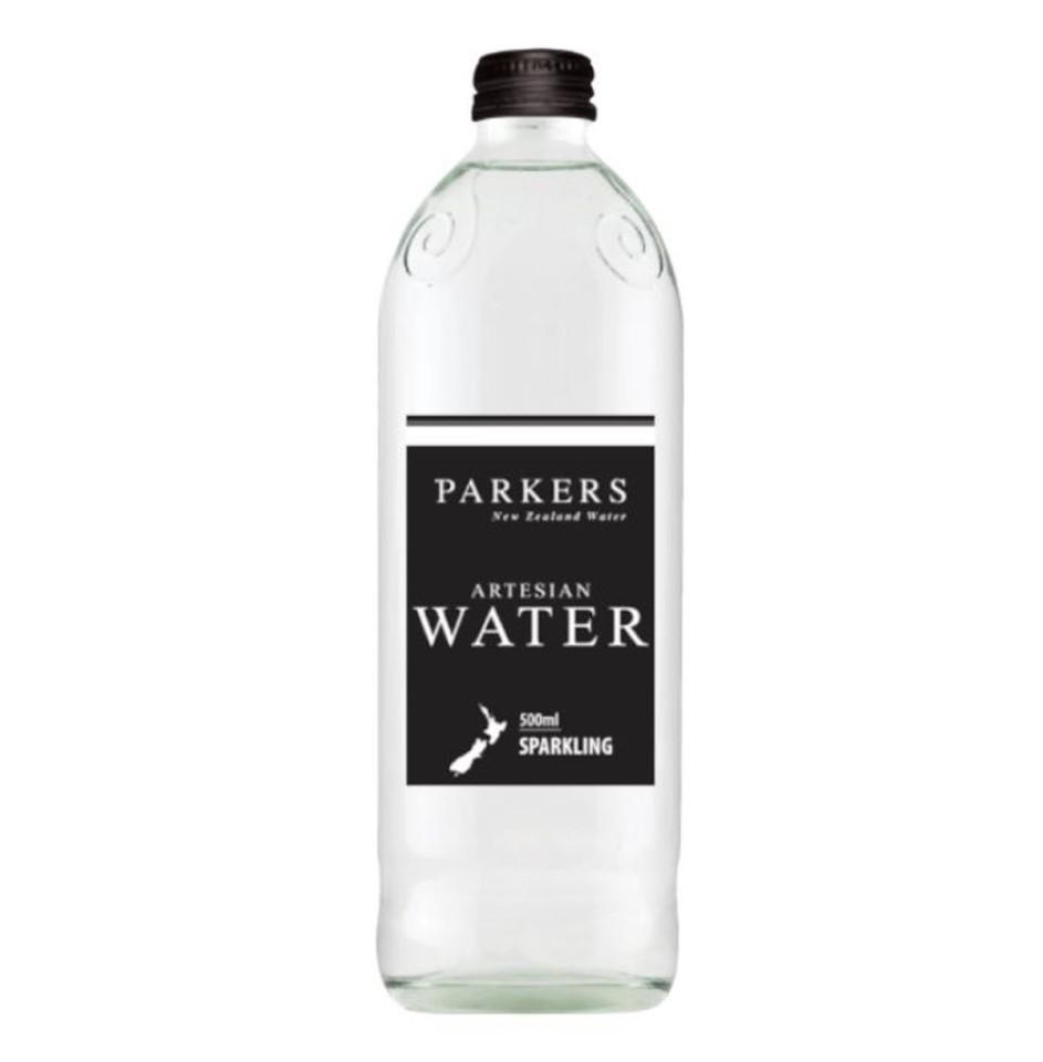 Parkers Water 500ml Glass Bottle Sparkling Case 12 Bottles