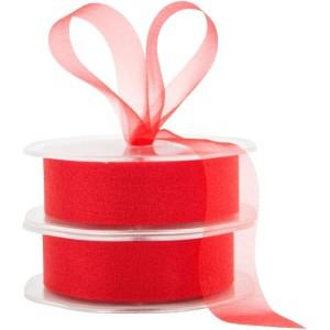 Chiffon Plain Ribbon Cut Edge 25mmx50m - Red