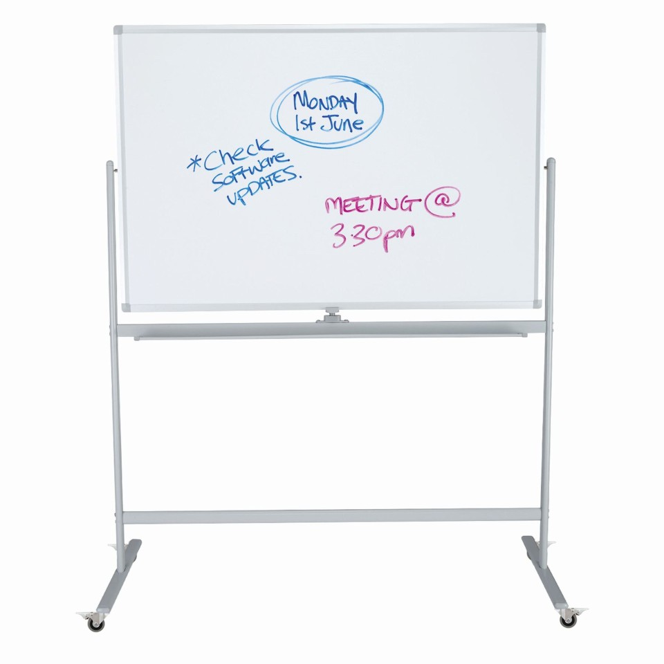 Boyd Visuals Lacquered Steel Mobile Pivoting Whiteboard 1200 x 1800mm