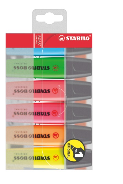 Stabilo Boss Highlighter Chisel Tip 2.0-5.0mm Assorted Colours Wallet 6