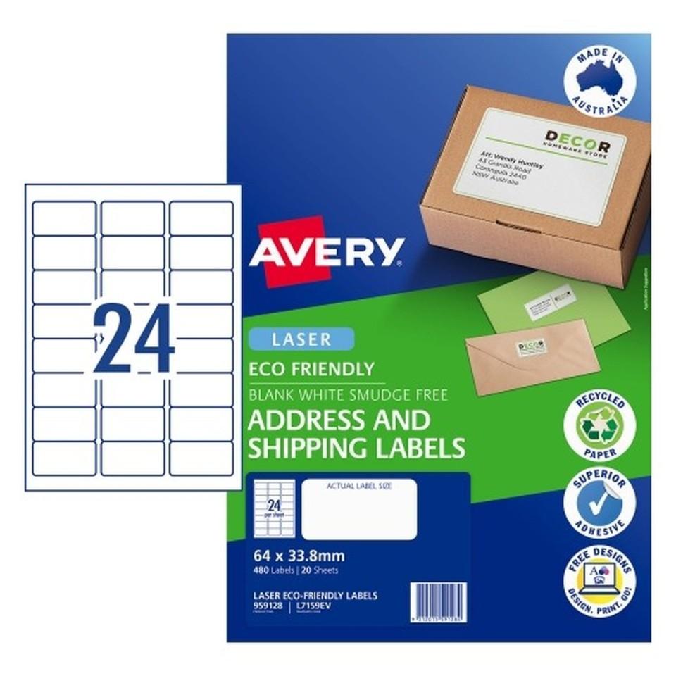 Avery Eco Address Laser 64x33.8mm 24up White  Pack 20 Sheets 480 Labels (959128/L7159EV)