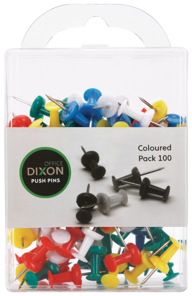 Push Pins Assorted Colours Pack 100