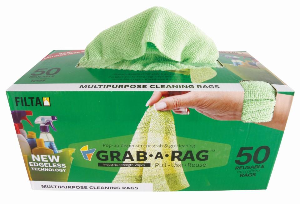 Filta Grab  A  Rag Microfibre Rag 30cm x 30cm Green Box of 50