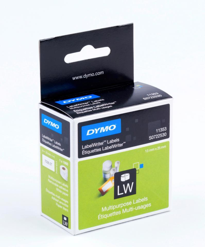 Dymo Label Writer Multi Purpose Labels 13mm x 25mm