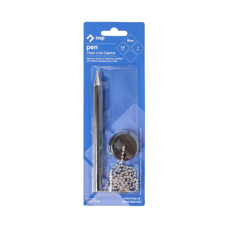 Chain Link Captive Ballpoint Pen Medium 1.0mm Blue