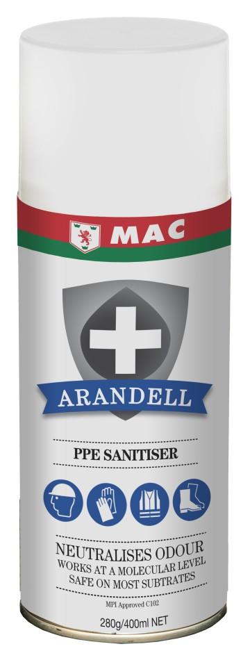 Mac Arandell Premium PPE Sanitiser Spray Fresh 400ml ARANPPES5A Carton of 12