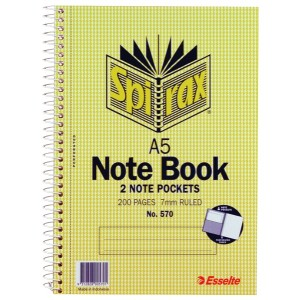 Spirax No.570 Notebooks A5 Side Opening With Pockets 200 Page