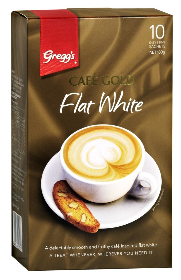 Greggs Cafe Gold Flat White Instant Coffee Sachets 150g Pack 10