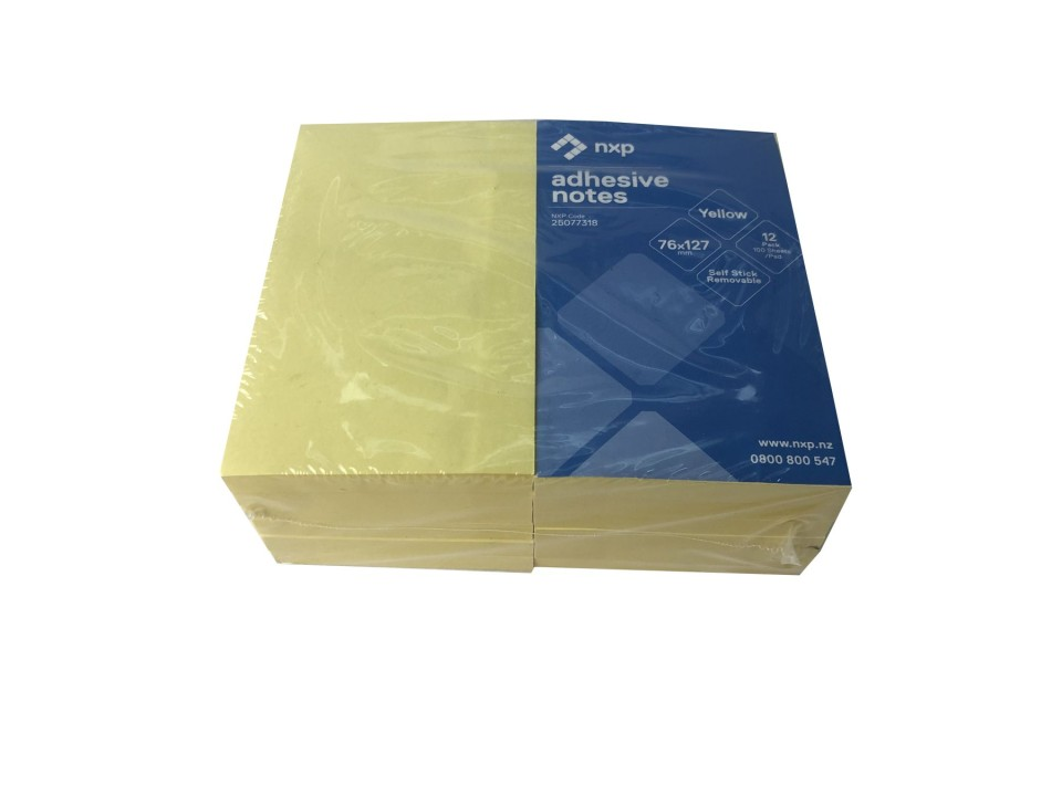 NXP Self Adhesive Removable Sticky Notes 76x127mm Yellow Pack 12