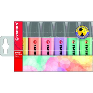 Stabilo Boss Highlighter Chisel Tip 2.0-5.0mm Assorted Pastel Colours Pack 6