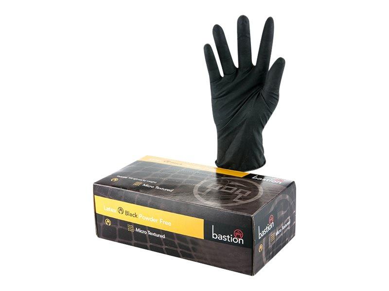 Bastion Latex Powderfree 100/750 Size Small 100/Box Carton 10 Black