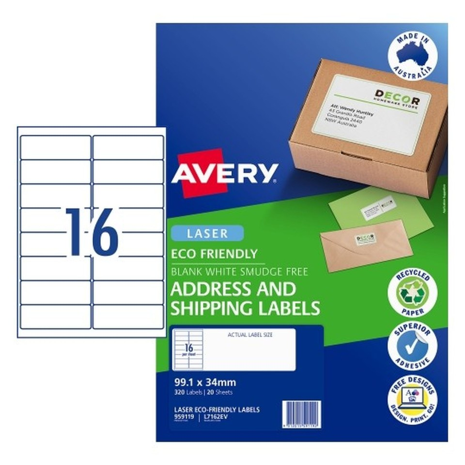 Avery Eco Address Laser 99.1x34mm 16up White Pack 20 Sheets 320 Labels (959119/L7162EV)