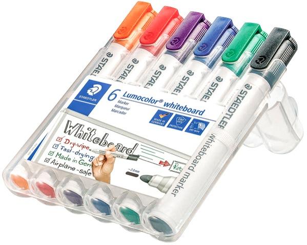 Staedtler 351 Lumocolor Whiteboard Marker Bullet Tip 2.0mm Assorted Colours Set 6