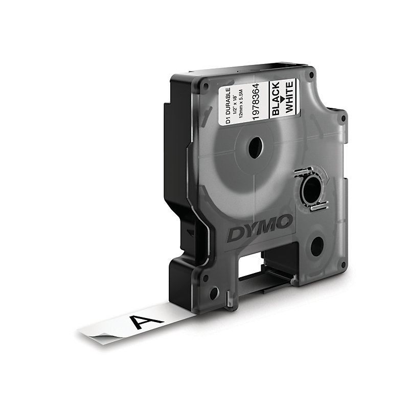 Dymo D1 Durable Label Cassette Tape 12mm X 5.5m - Black On White