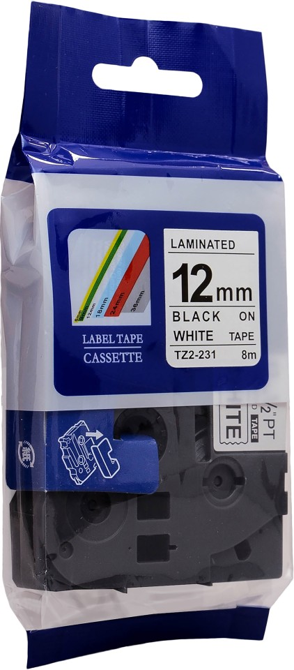 Tape Brother Tz 12mm Black/White Comp