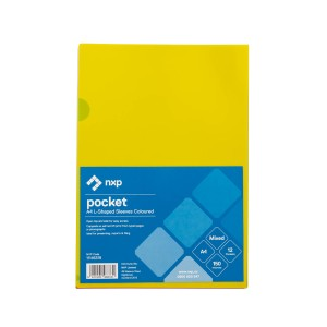 NXP L-Shaped Pockets Assorted Colours Pack 12