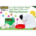 Scotch Magic Tape 19mm X 33m Pack 5 With Bonus Dog Dispenser