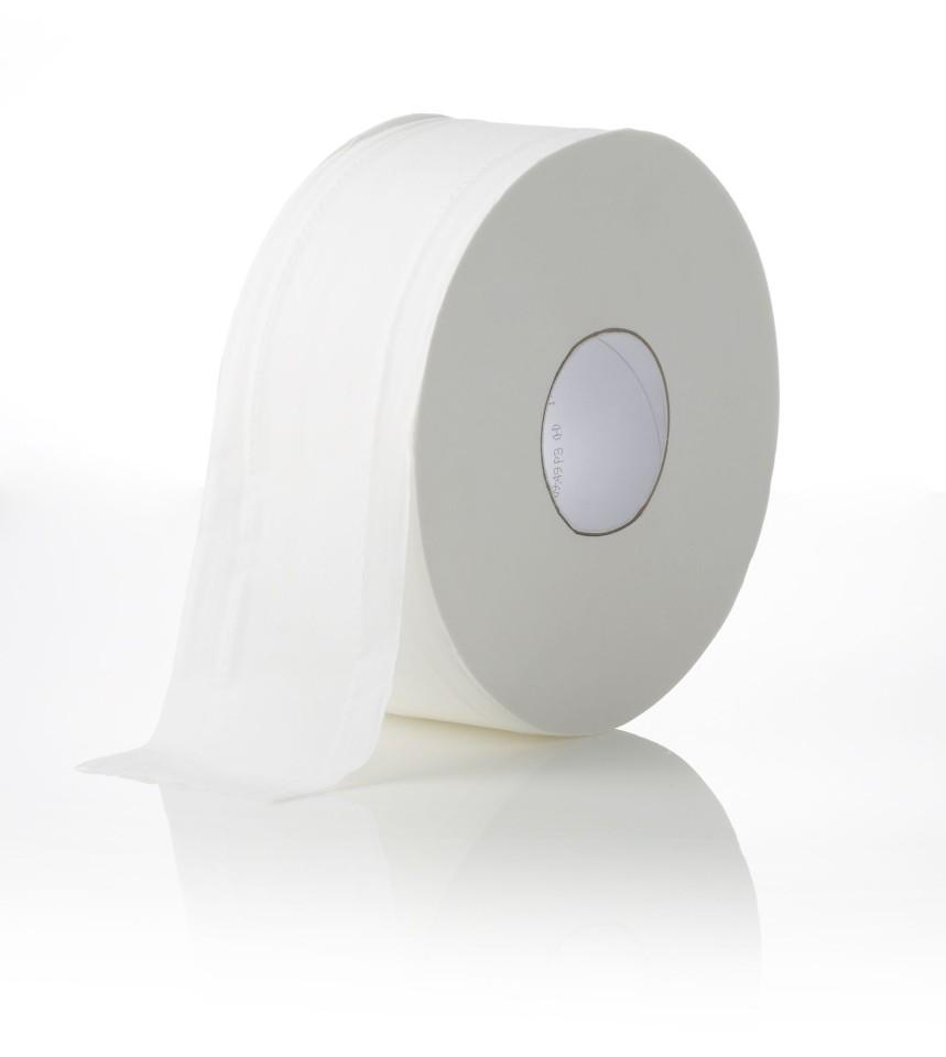 Livi Essentials Jumbo Roll Toilet Tissue 2 Ply White 300 meters per Roll 1100 Carton of 8